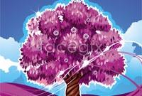 Link toCartoon purple tree vector