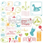 Cartoon retro stamps vector