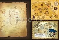 Link toCartoon retro treasure map vector