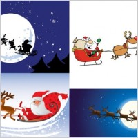 Link toCartoon santa claus and elk vector