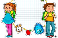 Link toCartoon school stickers vector