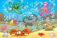 Cartoon sea animal vector illustration package