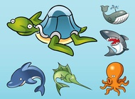 Link toCartoon sea animals vector free