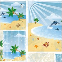 Link toCartoon seaside scenery vector material