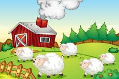 Link toCartoon sheep farm vector