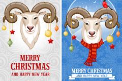 Link toCartoon sheep head christmas banner vector