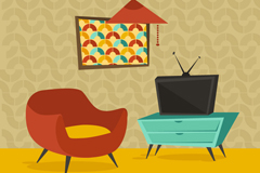 Cartoon sitting room design vector graph