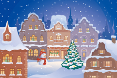 Link toCartoon small city in snow in the winter vector