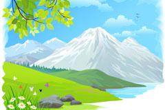 Link toCartoon snow landscape vector