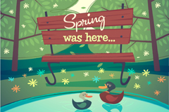 Link toCartoon spring park, illustrator vector