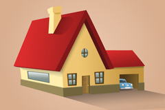 Link toCartoon-stereo-red roof home vector