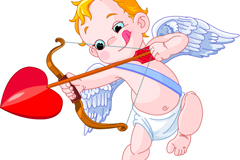 Link toCartoon stick out their tongue at cupid's archery vector