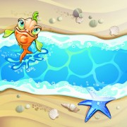 Link toCartoon style summer beach vector background 04 free