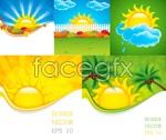 Link toCartoon sun clouds vector