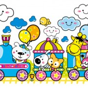 Link toCartoon train and small animals vector free