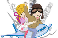 Link toCartoon travel lovers background vector
