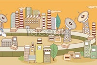 Link toCartoon vector background technology building
