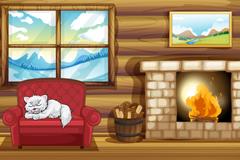 Link toCartoon vector winter log cabin