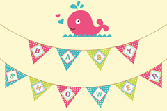 Link toCartoon whale-friendly party poster vector graphics
