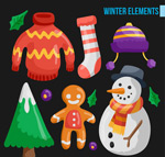 Link toCartoon winter elements vector