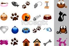Link toCat and dog pet supplies element vector