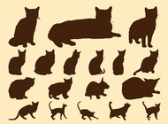 Cats silhouettes graphics vector free