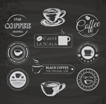 Chalk coffee label vector