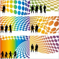 Link toCharacters and 3d background vector silhouette