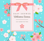 Link toCherry blossom baby party poster vector