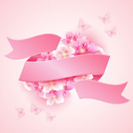 Link toCherry blossom pink ribbon vector
