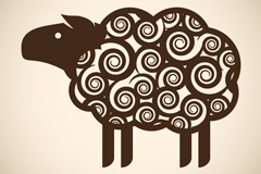 Link toChestnut curly-haired sheep, vector