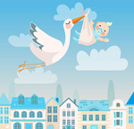 Child of cranes and baby vector