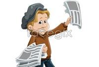 Link toChildren cartoon selling newspapers vector graphics