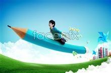 Link toChildren flying pencil psd