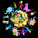 Link toChildren's animal flower vector