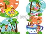 Link toChildren's summer holiday vector 4