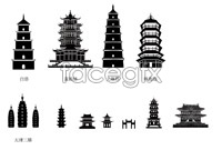 Link toChina's ancient and modern architectural silhouettes vector