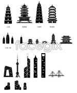 Chinese architecture sketches vector