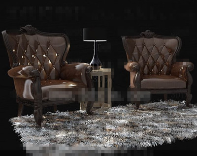 Link toChocolate single leather wooden sofa 3d model