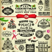 Link toChristmas and new year calligraphic elements vector
