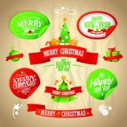 Link toChristmas and new year labels with stickers vector