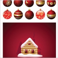 Link toChristmas balls hanging with the house vector