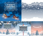 Christmas border and the wooden sign vector