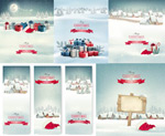 Link toChristmas box and snow vector