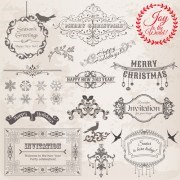 Link toChristmas calligraphic frame and decor vector 01