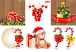 Christmas cane sugar with butterfly vector