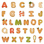 Christmas cookie letters vector