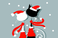 Link toChristmas couple cat vector illustration