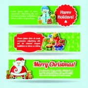 Link toChristmas elements with santa vector banner 02
