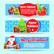 Link toChristmas elements with santa vector banner 05